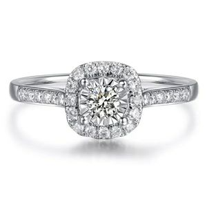 925 Silver Platinum Plated Simulated Diamond Ring